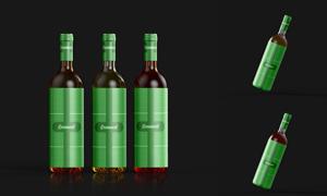 透明玻璃材质酒瓶包装效果模板文件