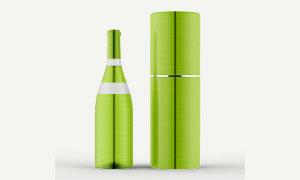 玻璃酒瓶与包装盒贴图设计分层模板