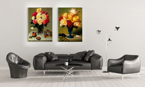 花瓶中的插花主题无框挂画高清图片
