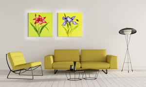 两幅花卉植物主题装饰挂画高清图片
