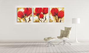 大红色的花朵三联挂画主题高清图片