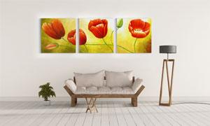 红色花卉植物主题装饰挂画高清图片