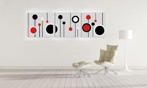 红黑几何图形元素装饰挂画高清图片