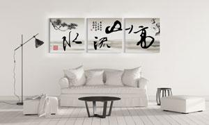 高山流水中国风装饰画主题高清图片