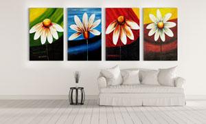 四色背景花朵装饰油画设计高清图片
