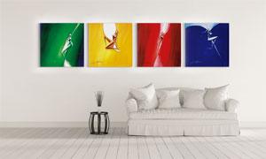 四色抽象人物装饰挂画主题高清图片