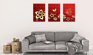 蝴蝶花纹藤蔓元素创意挂画矢量素材