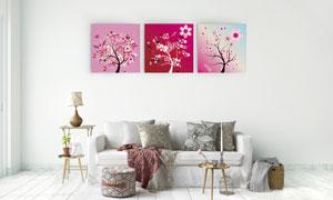 粉红色的树无框画创意设计矢量素材