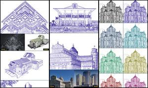 中文版建筑物彩色线稿效果PS动作