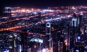 夜晚繁华的大城市鸟瞰摄影高清图片