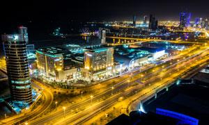 城市建筑夜景鸟瞰视角摄影高清图片