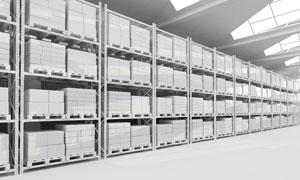 物流仓库内部货架陈设摄影高清图片