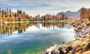 秋日湖光山色自然风景摄影高清图片