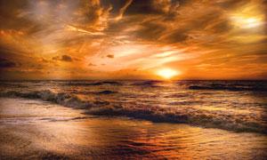 日落時分大海波濤風光攝影高清圖片