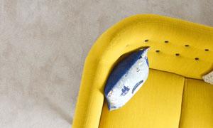 顶视视角家居沙发一角特写高清图片