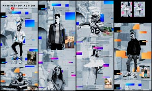 人像转现代主题风格海报设计PS动作V2