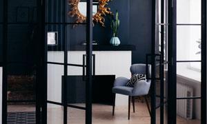 房间镜子植物与沙发等摄影高清图片
