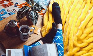 咖啡植物与看书的人物摄影高清图片