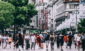 上海南京路步行街风光摄影高清图片