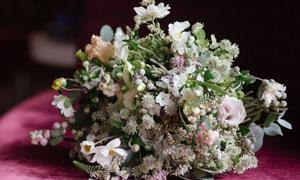 多种花绑在一起的花束摄影高清图片