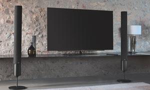 配备有外置音箱的电视摄影高清图片