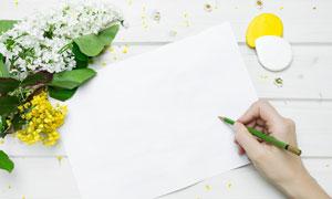 丁香花与执笔的手特写摄影高清图片