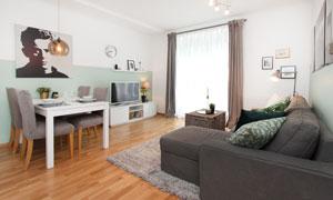 餐桌椅子与客厅的家具陈设高清图片
