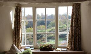 枕头与在飘窗上的植物摄影高清图片