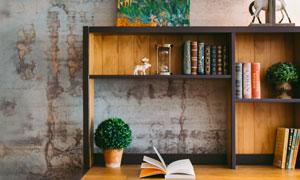 绿色植物与书架上的书摄影高清图片