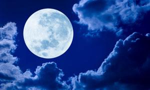 高高挂在夜空中的圆月摄影高清图片