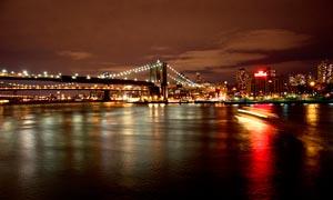 城市美丽的大桥桥梁夜景摄影图片