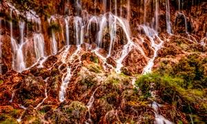 九寨沟美丽的小溪瀑布摄影图片