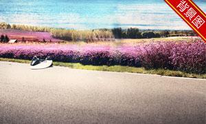 蓝天白云湖光山色风景抠图适用模板