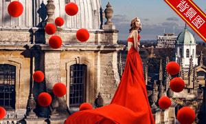 红色球装饰的建筑主题抠图背景模板