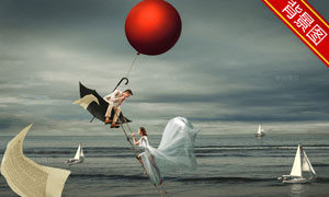 气球雨伞与海上的帆船抠图背景模板