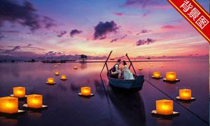 黄昏水面上的小船抠图背景分层模板