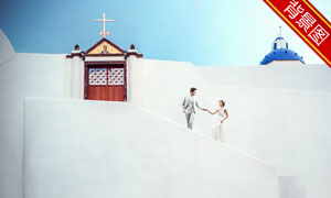 蓝天教堂建筑主题抠图背景设计模板