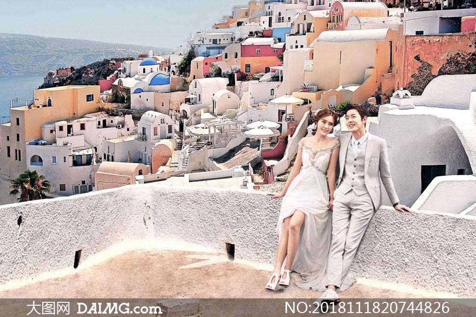 海边希腊风情建筑抠图背景设计模板