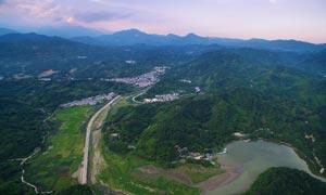 航拍莲花湖全景高清摄影图片