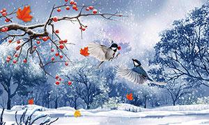 冬天风景画插画电视背景墙PSD源文件