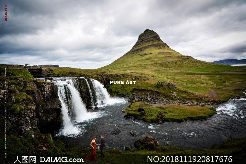 山丘瀑布美景风光主题抠图背景模板