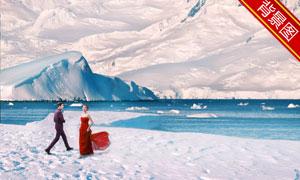 寒冷地区冰天雪地风景抠图背景模板