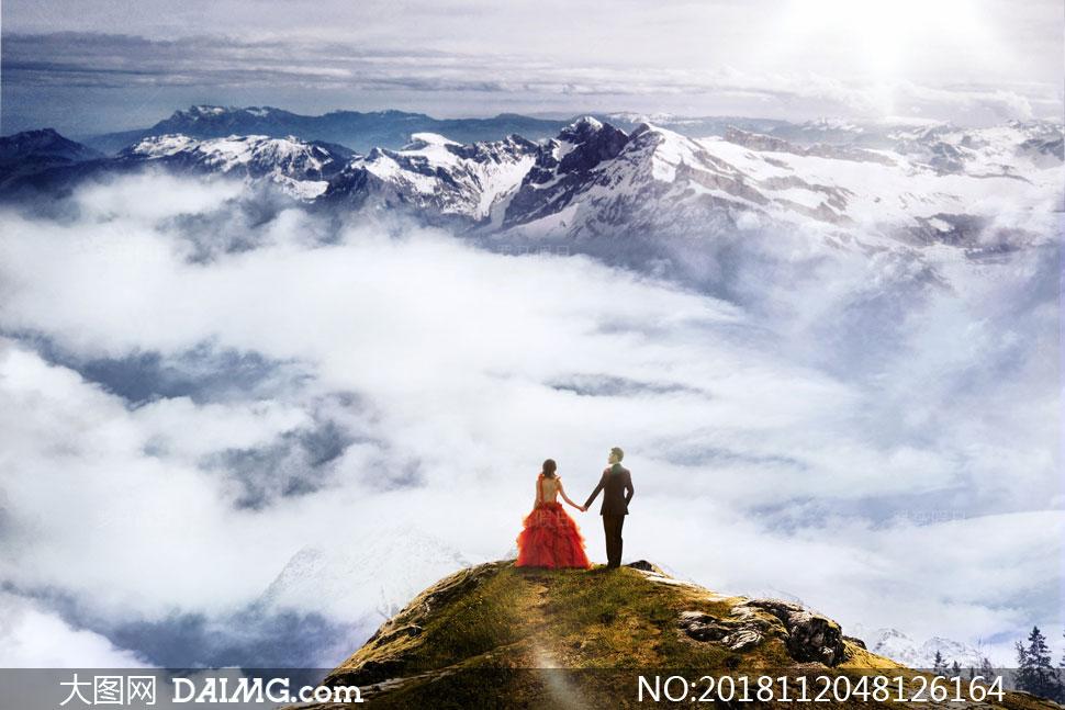云海雪山自然风景主题抠图背景模板