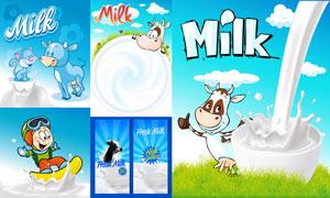 卡通动物与新鲜的牛奶创意矢量素材