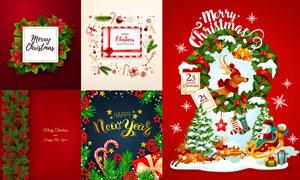 礼物盒树枝等圣诞主题创意矢量素材