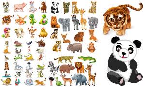 老虎与熊猫等卡通动物主题矢量素材