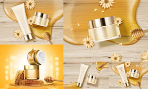 逼真效果蜂蜜花朵与护肤品矢量素材
