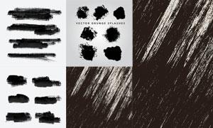 黑白墨迹笔触元素创意矢量素材V01