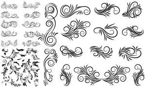 树叶图案与黑白风格的花纹矢量素材