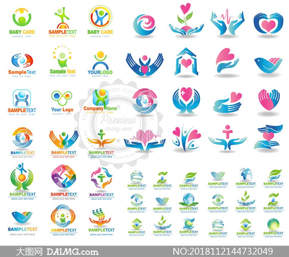 地球元素手势人形标志创意矢量素材